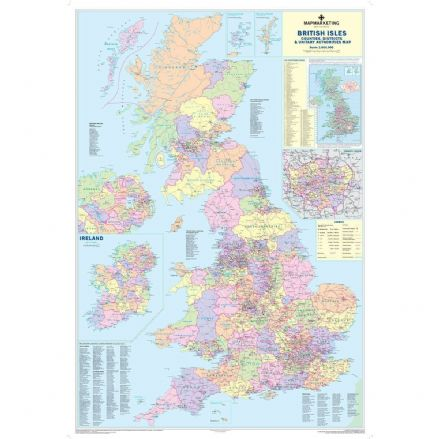 UK Counties, Districts & Unitary Authorities Planning Wall Map Standard Size